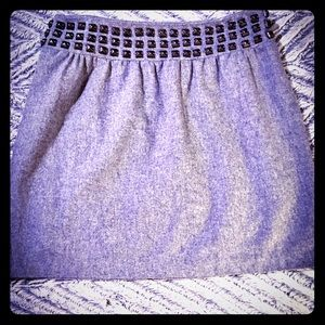 Silence+Noise Gray Studded Wool Mini Skirt Size 12